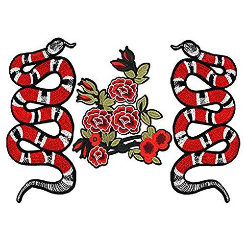 Patch/Apliques,3 Pcs de exquisito patrón de flores de serpiente Parche de vestir de DIY, etiqueta engomada parche de coser bordado Camiseta vaqueros accesorios de ropa parche de ropa.