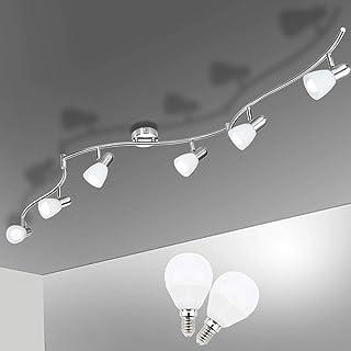 Plafonnier LED 6 Spots Orientables, Bojim 6 x Ampoule E14 6W 6000K Blanc Froid, LuminairePlafond, Plafonnier Moderne pour...