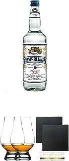 Bommerlunder Aquavit 0,7 Liter  The Glencairn Glas Stölzle 2 Stück  Schiefer Glasuntersetzer eckig ca. 9,5 cm Durchmesser 2 Stück