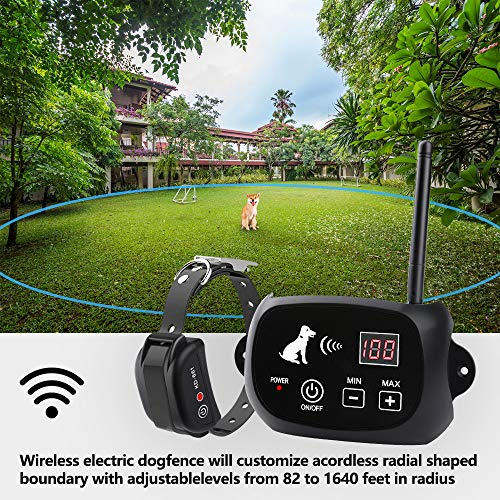 New Wireless Dog Fence, Pet Containment System, Pets Dog Containment System Boundary Container with IP65 Waterproof Dog Training Collar Receiver, Adjustable Range, Harmless for All Dogs.Black…