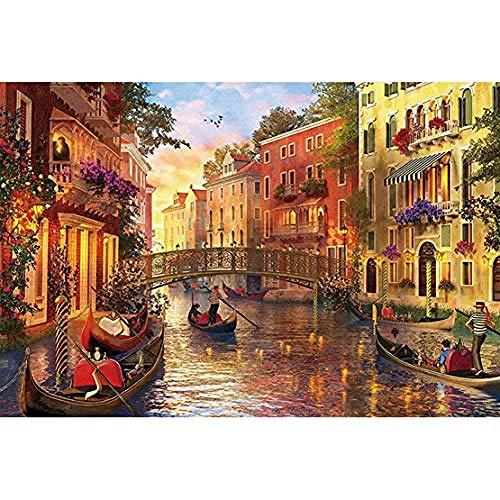 1000 stukjes houten puzzel voor volwassenen/kinderen, educatieve decompressie speelgoedpuzzel (Venice Water City), afmeting 70 * 50cm