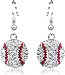 Feximzl 2 Pairs Baseball Pendant Necklace & Dangle Earrings Jewelry Set Sport Clear Crystal Fashion Jewelry (Silver 2pair Earrings)