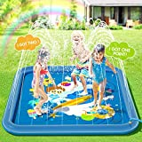 Peradix Water Sprinkler Splash Pad for Kids, Upgraded 68' Summer Outdoor Water Toys Wading Pool Splash Play Mat for Toddlers Baby, Outside Water Play Mat for 1-12 Years Old Children Boys Girls(Square)