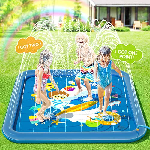 Peradix Water Sprinkler Splash Pad for Kids, Upgraded 68' Summer Outdoor Water Toys Wading Pool Splash Play Mat for Toddlers Baby, Outside Water Play Game for Dogs, Kiddie Baby Pool Backyard Fountain