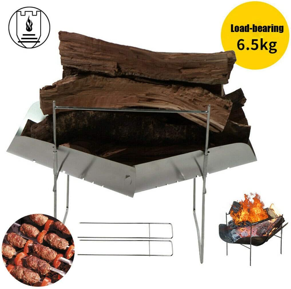 RUGU Acier Inoxydable Mini Barbecue Camping Cuisinière Barbecue au Charbon Support Pliable Grill Holder Set Outdoor Gear Portable Pique-Nique,b A