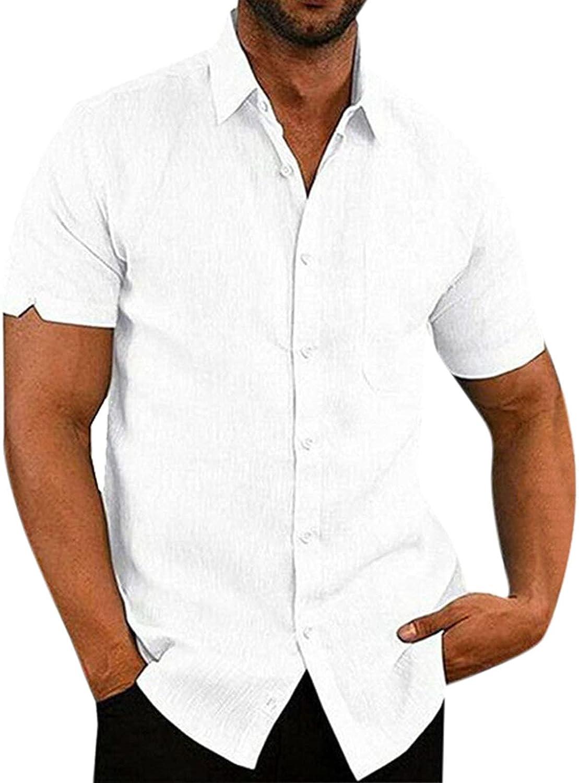 FUNEY Mens Short Sleeve Button Down Shirts Regular Fit V Neck Summer Beach T-Shirts Casual Plain Poplin Lapel Cardigan Tops