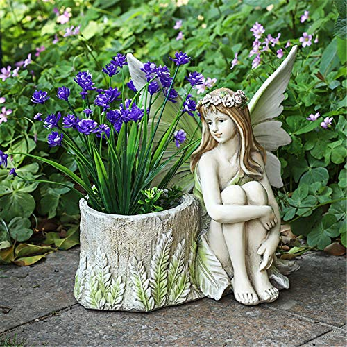 JenLn Garden Art Figurines Flower Fairy Decor Garden Ornaments Figure Sculpture Outdoor Villa Courtyard DIY fairy Garden Art Decoration (Color : B, Size : 19X18.5X24cm)