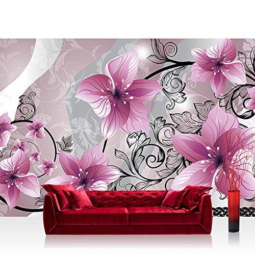 Vlies Fototapete 416x254cm PREMIUM PLUS Wand Foto Tapete Wand Bild Vliestapete - Orchideen Tapete Blumen Blüten Orchideen Kunst Schnörkel rosa - no. 2647