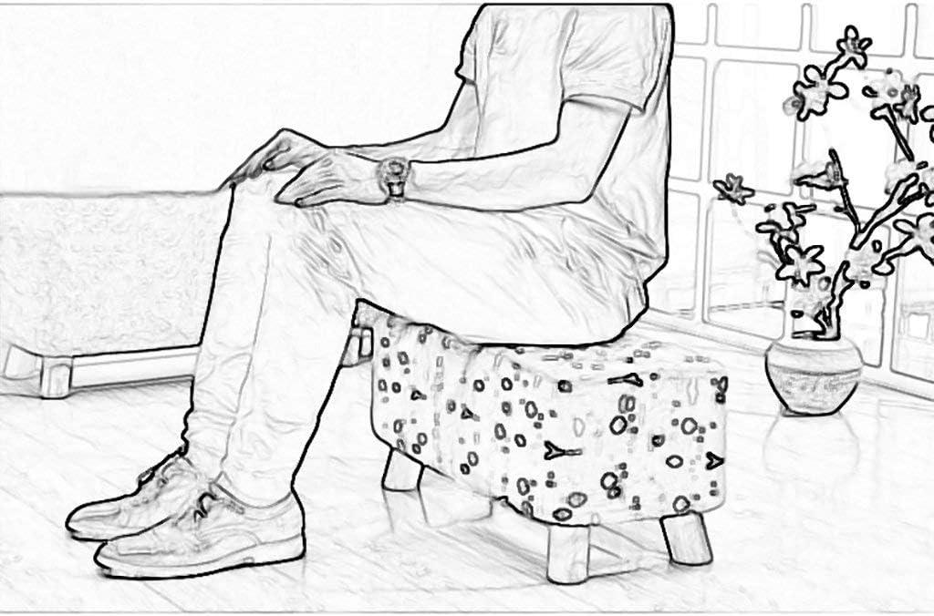 Nyfcc Bois Massif Tabouret Coton carré Salon de ménage Court canapé Salon Table Basse Chaise Repose-Pieds Siège Le Port d'un Banc de Chaussures (Couleur: D) (Color : A) A