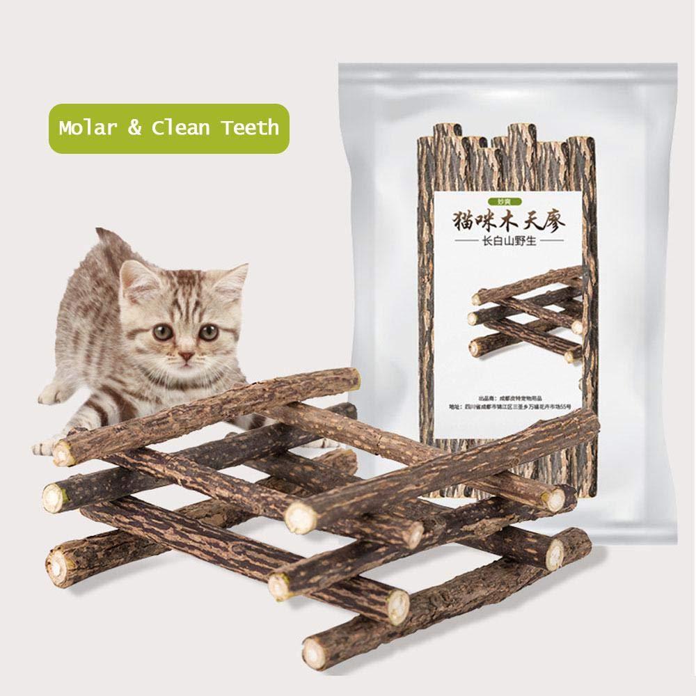 Aolvo Matatabi Sticks, 10 unidades de varillas de masticar para gatos, varillas dentales plateadas de vino, palo molar para gatos, molienda de dientes de gato, aperitivos Silvervine varillas dentales para tratar dentales,