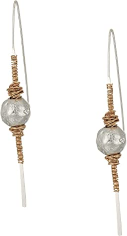 Silver Plated Stick Linears with Silver Plated Sculptural Beads and Gold Plated Wire Wrapped Details Earrings