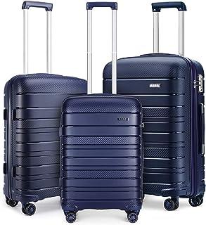 Kono Set de 3 Valises Rigide Ensemble de Bagages en Polypropylène Ultra Léger à 4 roulettes avec Serrure TSA 55cm Bagage C...