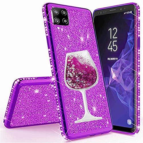 Miagon für Samsung Galaxy A42 Hülle Glitzer,Lustig Flüssig Sand Wein Tasse Muster Glänzend Weich Silikon Strass Diamant Überzug Handyhülle Schutzhülle Etui Cover