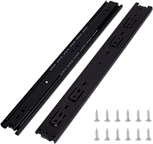 6 Pairs of 24 Inch Hardware 3-Section Full Extension Ball Bearing Side Mount Black Drawer Slides,100 LB Capacity Draw...
