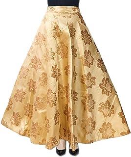 Mamta women's Women's Raw Silk Umbrella Cut Gota Patti Lehenga Skirt (Cream, Free Size)