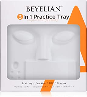 BEYELIAN 3 in 1 Eyelash Exension Practice Tray Newly Designed Lashes Learning and Display Tool Pack of 17 pcs