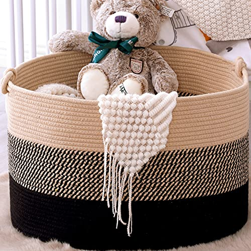 KAKAMAY Large Blanket Basket (20'x13'),Woven Rope Baskets for storage Baby Laundry Hamper,Cotton Rope Blanket Basket for Living Room , Laundry, Nursery, Pillows,Baby Toy chest(Jute/Black)