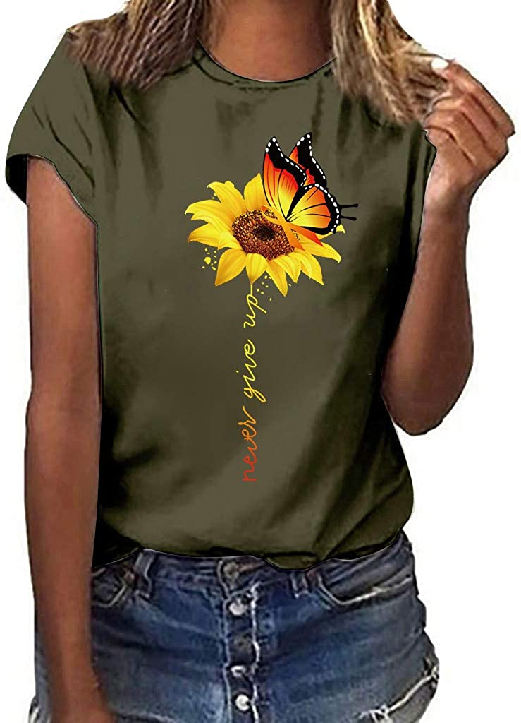 WOCACHI Max 51% OFF 2021 Summer Complete Free Shipping Womens Blouses Tops C Eyelash Lips Sunflower