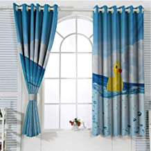 Jinguizi Rubber Duck Room Decor for Boys Little Duckling Toy Swimming in Pond Pool Sea Sunny Day Floating on Water Short Curtain Blue and Yellow 96 x 72 inch