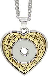 My Prime Gifts Snap Jewelry Gold & Silver Tone Heart Necklace Length 18