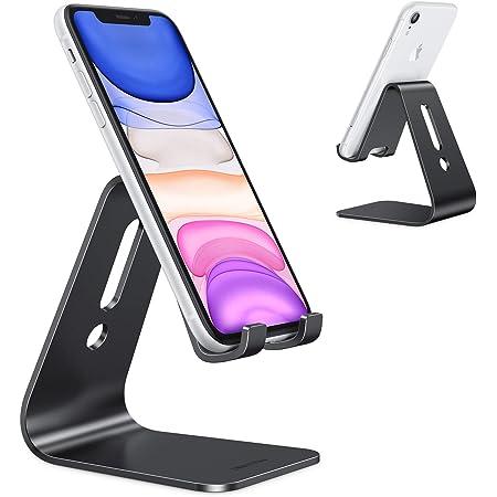 OMOTON Handy Ständer, Aluminium Handy Halter für Video/Büro, Tisch Handy Halterung kompatibel mit iPhone 12/12 pro/11 Pro/Xs Max/Xr/SE/8/7/6, alle 3.5-11 Zoll Android-Smartphones und Switch, Schwarz