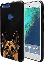 FINCIBO Case Compatible with Google Pixel XL (5.5 inch) HTC 2016, Flexible TPU Black Soft Gel Skin Protector Cover Case for Pixel XL 2016 (NOT FIT Pixel 5 inch) - Black Tan German Shepherd Dog