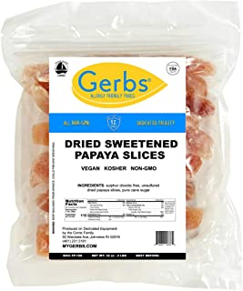 GERBS Dried Sweetened Papaya Slices, 32 ounce Bag, Unsulfured, Preservative, Top 14 Food Allergy Free