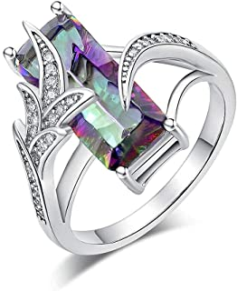 خواتم توباز قوس قزح من CiNily للنساء 18 كيلو ذهب أبيض مطلي مجوهرات هدايا خاتم الزركون مقاس 6-10