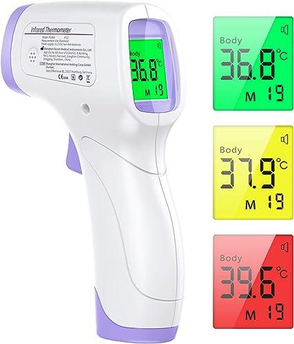 Thermometre Frontal Adulte, KKmier Thermometre sans Contact avec Affichage à LCD, Thermomètre Frontal Infrarouge Bébé...