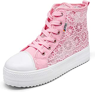Fashion Women Casual Sneakers Breathable Platform Wedges Shoes High-top Ladies Increase Mesh Shoes