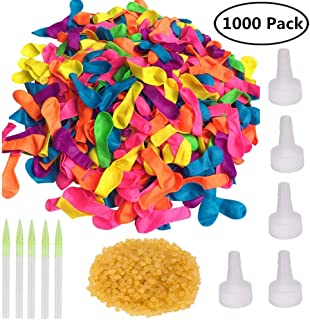 Minelife 1000 Pack Latex Self Sealing Water Balloons Bulk, Colorful Water Balloons Refill Kits for Kids & Adults, Water Fight Games, Swimming Pool Party, Summer Splash Fun