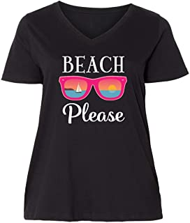 inktastic Beach Please Sunglasses Gift Women's Plus Size V-Neck