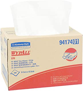 WypAll 94174 WypAll X70 Brag Box Wipers, White, Case of 160 Wipers, White 1.900 kilograms