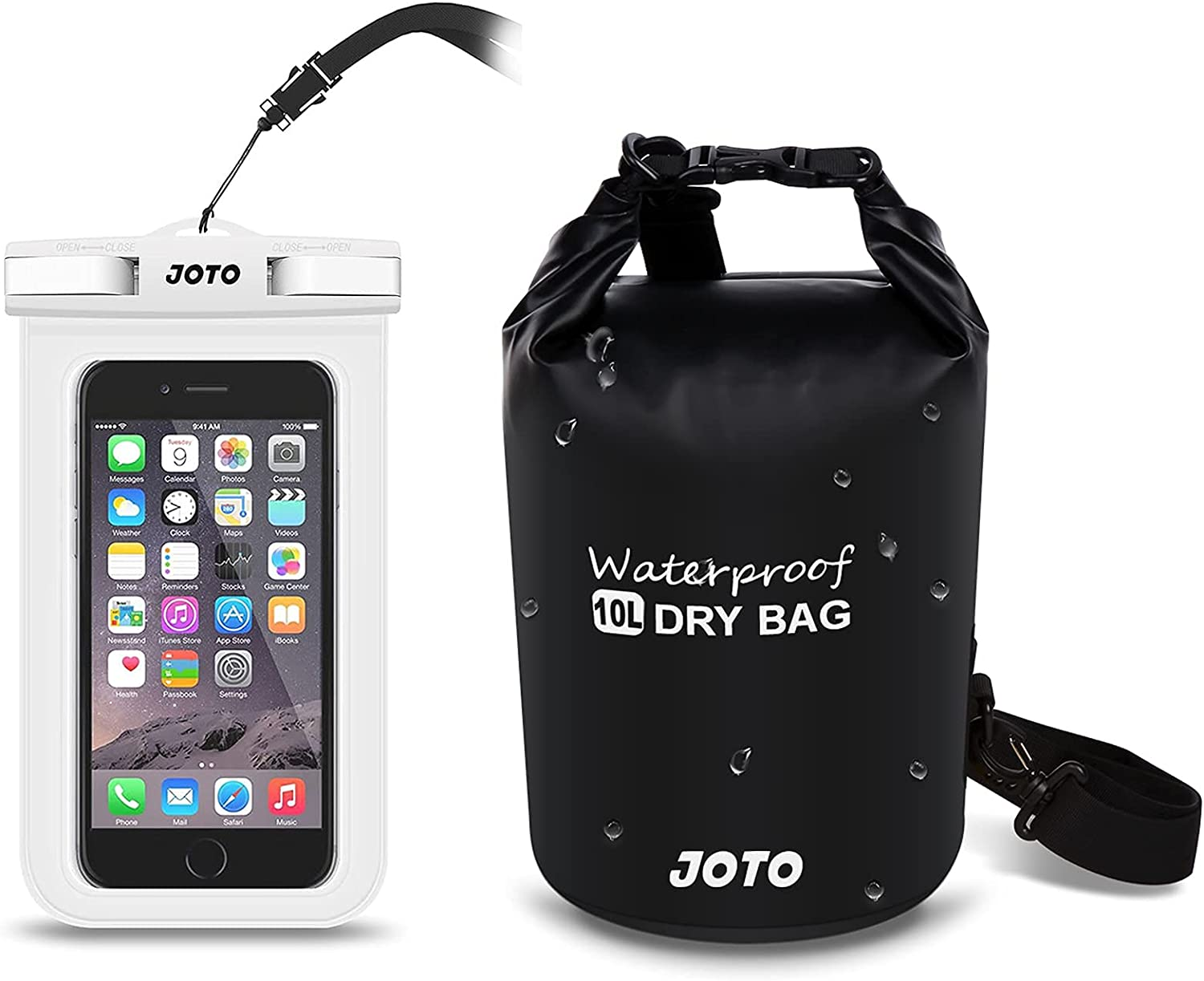 JOTO Universal Waterproof Pouch Cellphone Dry Bag Case Bundle with 10L Waterproof Dry Bag for Outdoor Activities