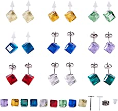 SUNNYCLUE 1 Set DIY 9 Pairs Crystal Cube Stud Earring Making Starter Kit Include Stainless Steel & Plastic Blank Earring Pin Studs Findings Posts, Cube Glass Cabochons and Earring Backs, Mixed Color