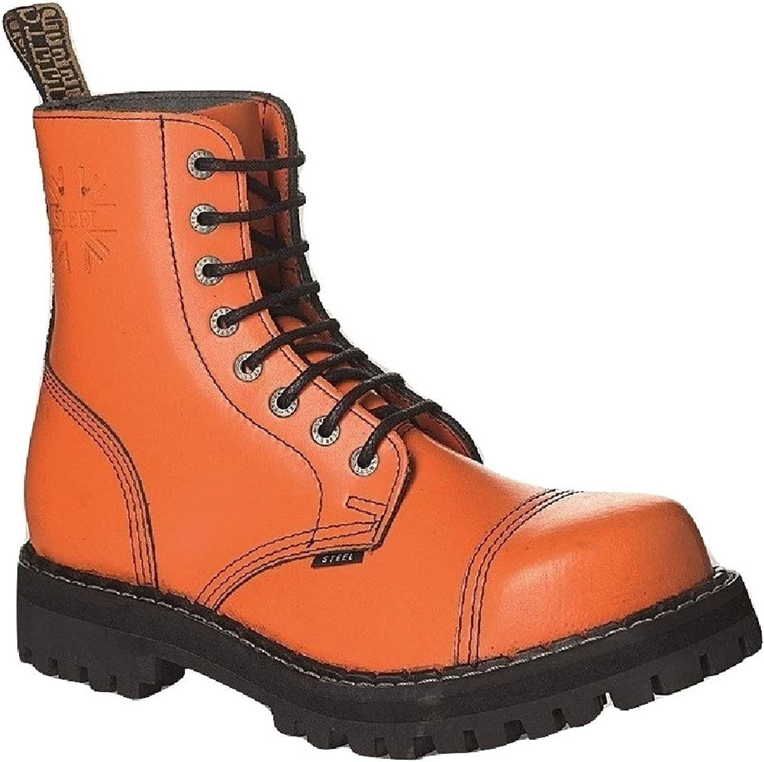 Steel Combat Boots Unisex Men's Ladies Leather orange 8 Eyelets Army Punk Toe Cap
