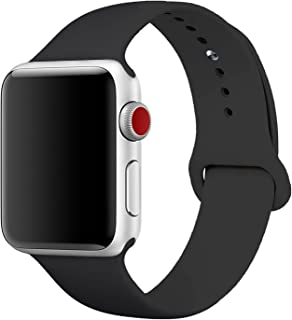 Sport Band for Apple Watch 42mm, Aimote Soft Silicone Replacement Strap for Apple Watch Series 3, Series 2, Series 1,Sport Edition, S/M Size,42mm Black