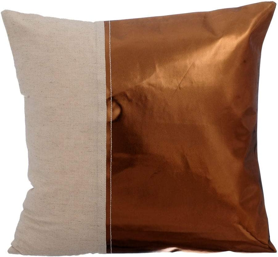 The HomeCentric Cheap mail order shopping Metallic Copper Leather Directly managed store inch 24x24 Faux