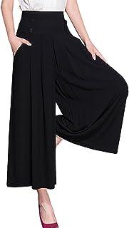 ELPIS レディース スカンツ タック ワイド パンツ スカーチョ 7分丈 ハイウエスト ブラック M