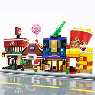 SPRITE WORLD streetscape Building Block Toy City Town House (4 Sets Food Shops)