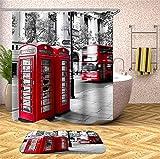 Kwboo Das Gebäude Neben Der Straße. Rote Telefonzelle Und Bus. Duschvorhang. Wasserdicht. 180X180Cm. Teppich. Plus Samt. 40X60Cm.