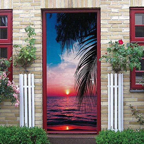 LuSeven vinilo para puertas de madera Puesta de sol mar cocoteros paisaje 50x125cm Pegatinas de puerta para baño, puertas interiores, impermeable, autoadhesivo, 3D, bebés, niños, niñas, habitación, do