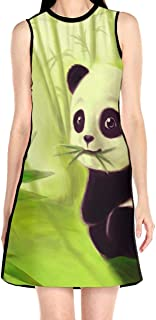 Women's Sleeveless Dress Panda and Bamboo Fashion Casual Party Slim A-Line Dress Midi Tank Dresses