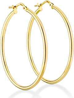 18K Gold Over Sterling Silver Italian 2mm High Polished Round Tube Hoop Earrings for Women Men Girls 15mm, 20mm, 30mm, 40mm, 50mm, 60mm Lightweight Earrings 925 Made in Italy