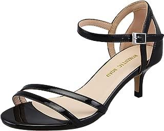 1.97IN Heels for Women Open Toe Mid Stiletto Kitten Heels Sandals with Ankle Strap Dress Shoes
