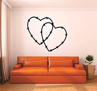 """Design with Vinyl RAD V 349 2 Barbwire Heart Home Decor Living Room Bedroom Picture Art Decal, 16"""" x 24"""", Black"""