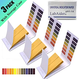 3 Pack pH.1-14 Test Paper Extensive Test Paper Litmus Test Paper 240 Strips pH Test with Storage Case for Saliva Urine Water Soil Testing Pet Food and Diet pH Monitoring (3 Pack with Storage Case)