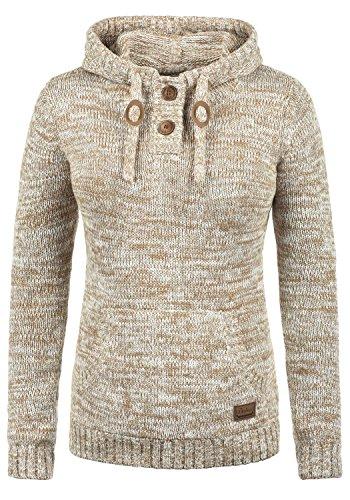 DESIRES Philaria Damen Winter Strickpullover Troyer Grobstrick Pullover mit Kapuze, Größe:M, Farbe:Dune (5409)