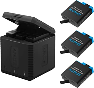 AFAITH GoPro laddare med 3-pack GoPro-batterier, 3-kanals batteriladdningsförvaringslåda med 3 uppladdningsbart litiumjonb...