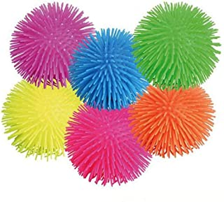 Kidsco Puffer Balls - 6 Pack Assorted Colors, Blue, Green, Orange, Yellow, Pink and Purple, for Kids Sensory Stress Relief, Therapy Toy Favor, Goody Bag Filler.
